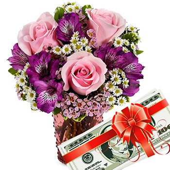Gift-a-Cash Mixed Flower Bouquet